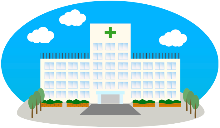 青空と病院のイラスト
