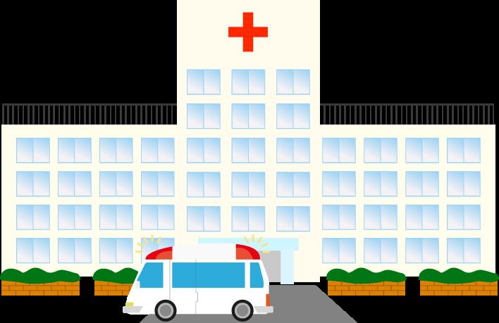 救急車と病院のイラスト