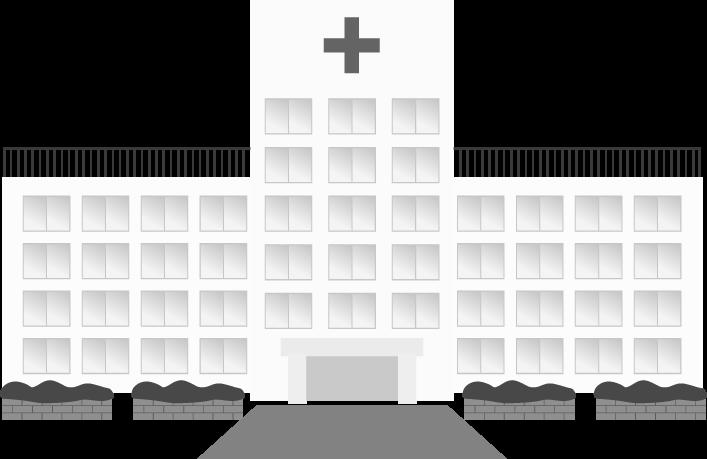 白黒の病院イラスト