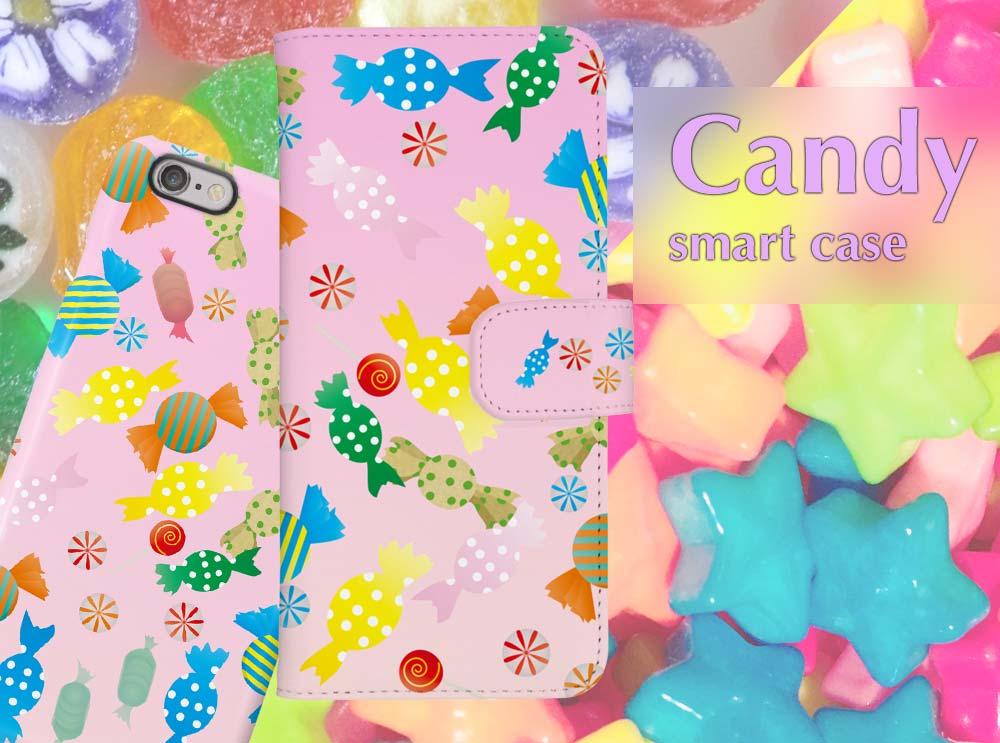 可愛いキャンディー柄のガーリースマホケース