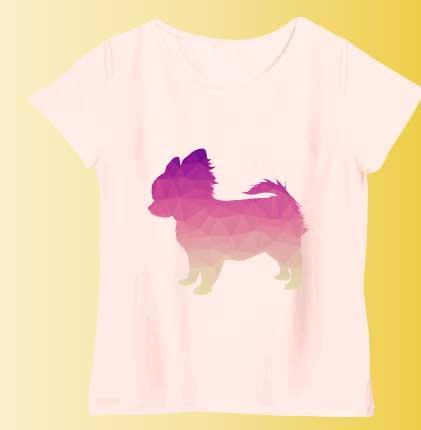 ポリゴンシルエットのチワワTシャツ