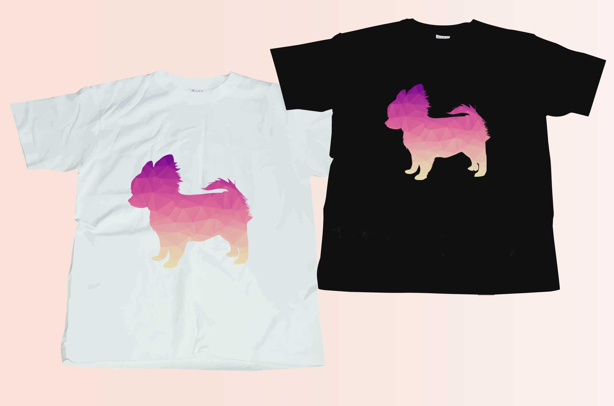 可愛いポリゴンのチワワシルエットTシャツ
