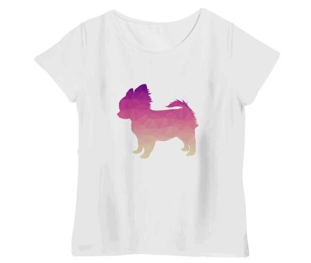 ポリゴンチワワTシャツ シャーベットピンク