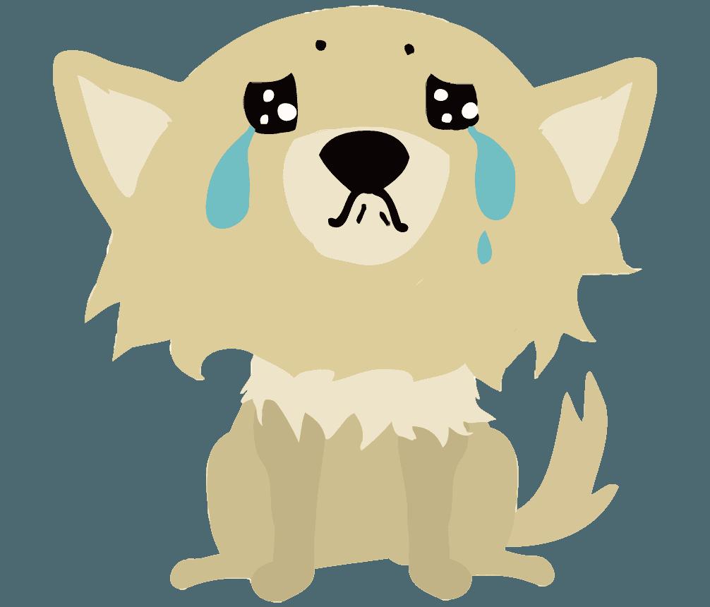 泣いている可愛いチワワのイラスト