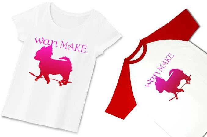 スケボーとチワワの可愛いTシャツ