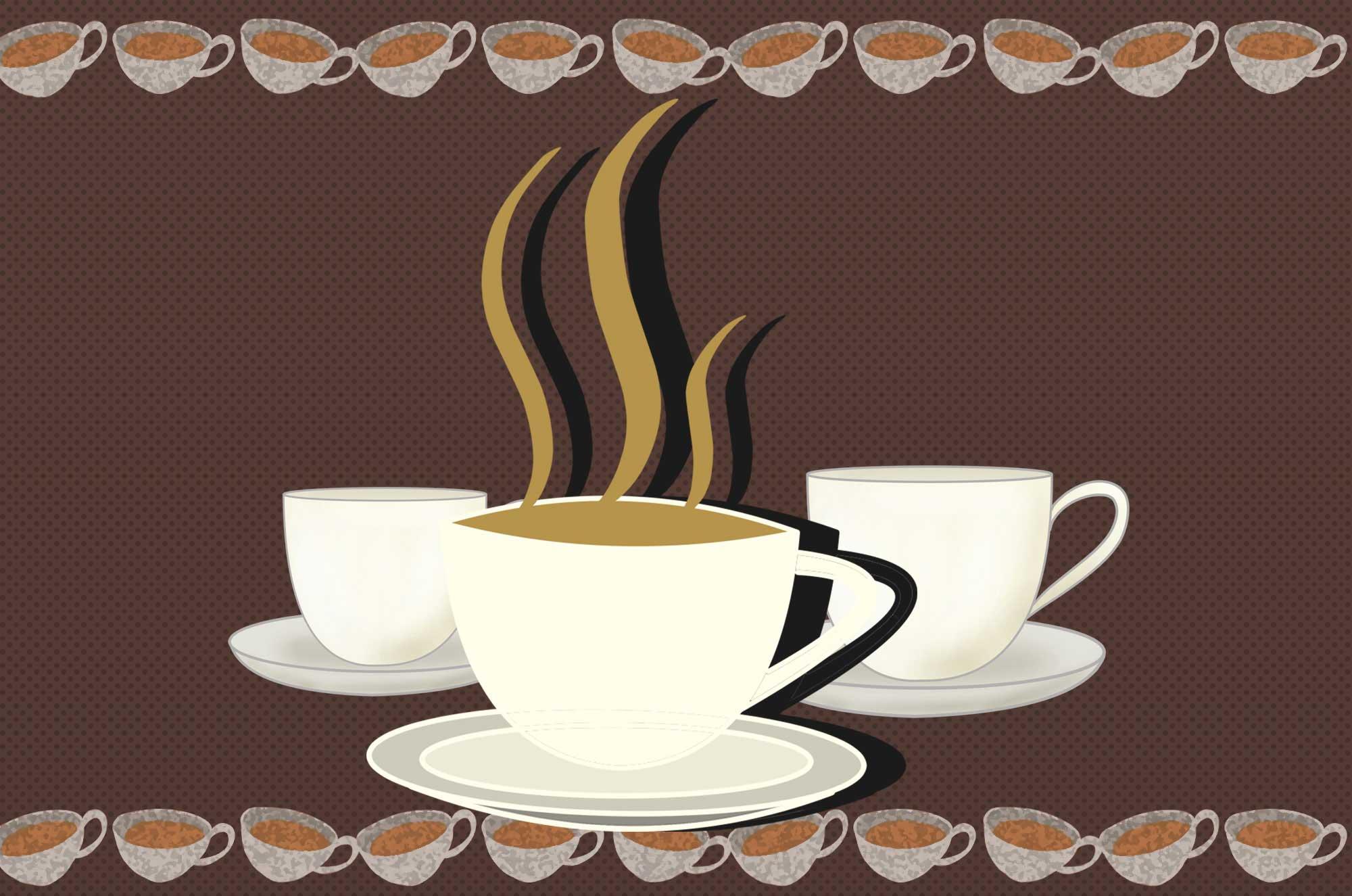 コーヒーカップのイラスト - 香ばしい臭いが漂う無料素材