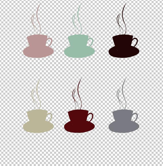 レイヤー効果カラーオーバーレイを設定したコーヒーカップのイラスト