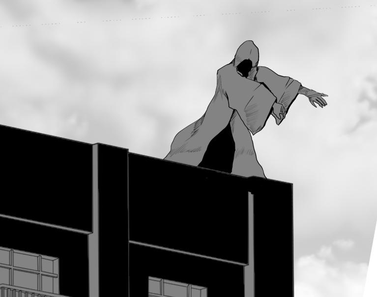はるか遠くのビルの上にいる謎のローブの男