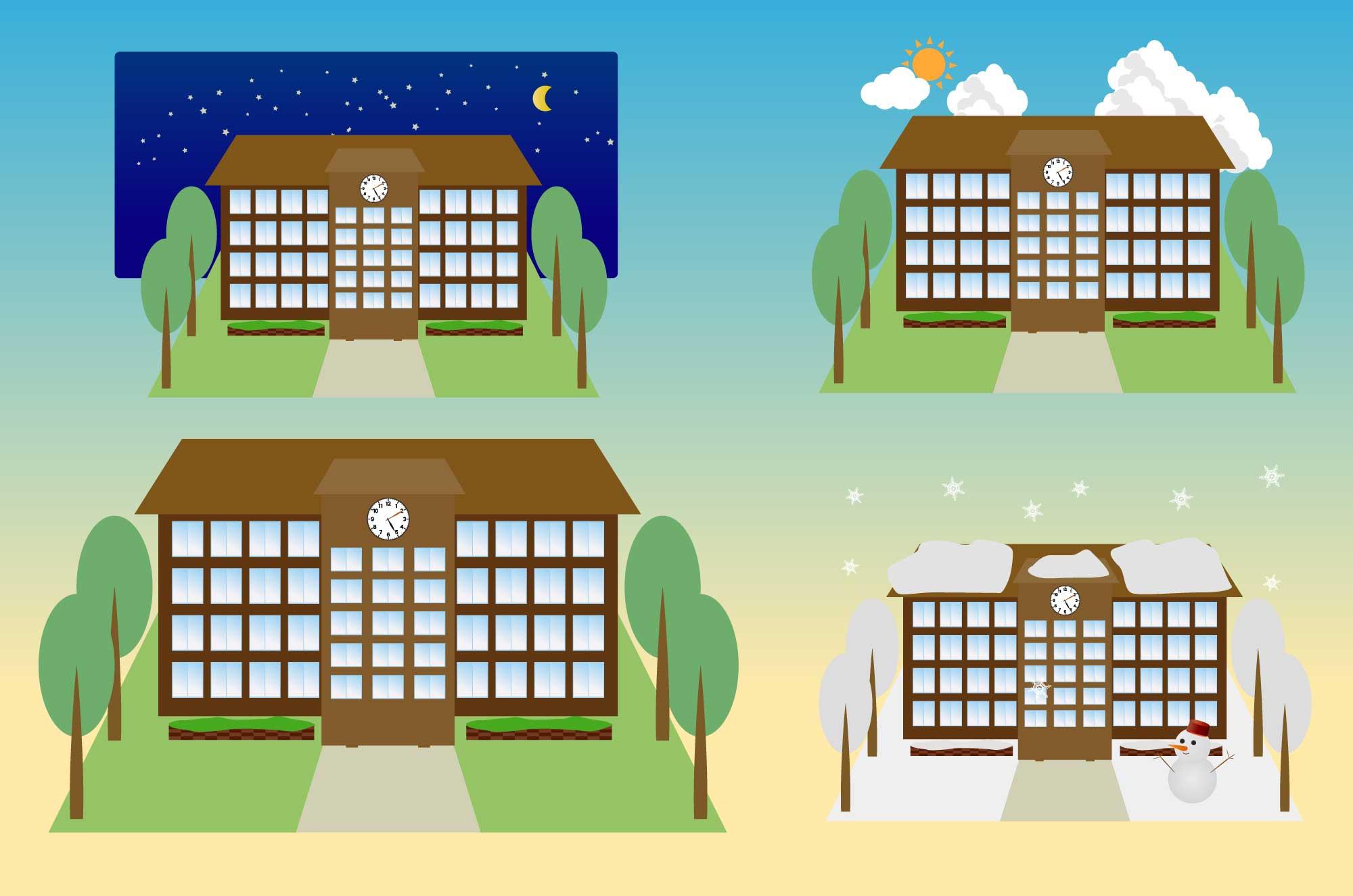 大学の無料イラスト - 四季の背景の学校建物素材