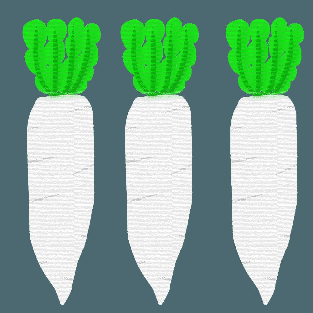 パステル風の3本の大根イラスト