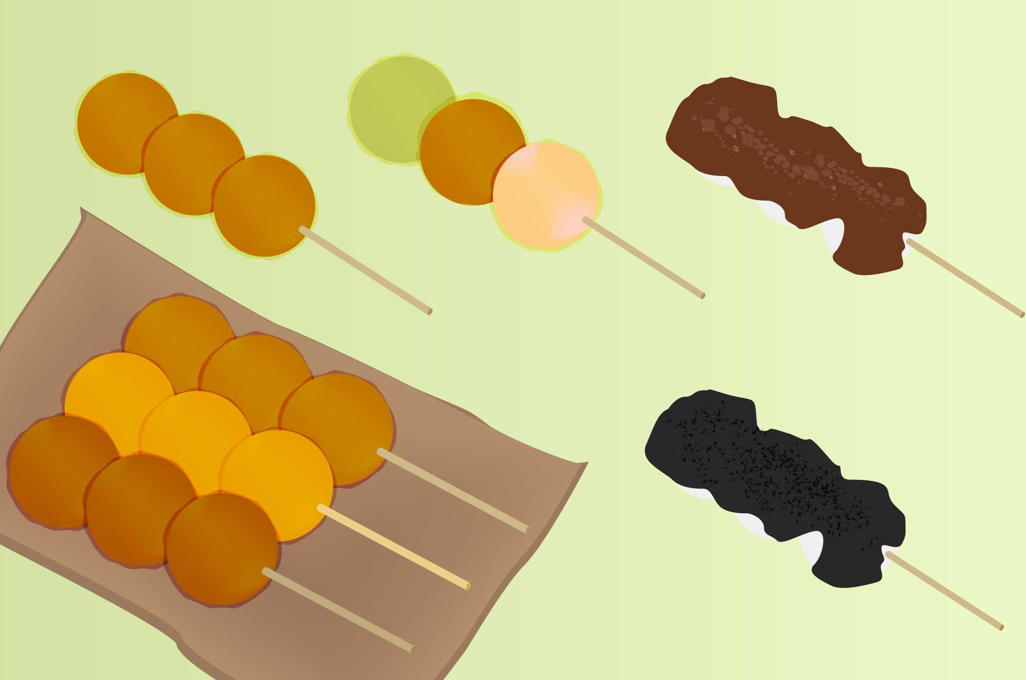 美味しそうな団子のイラスト - 甘い和菓子の無料素材