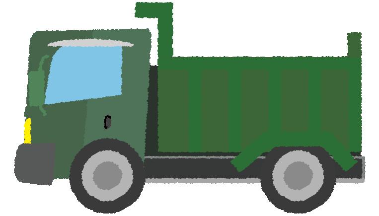 緑のダンプカーのイラスト