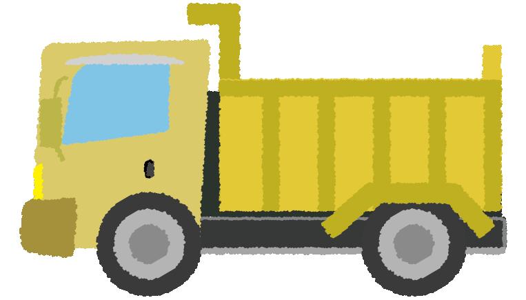 黄色のダンプカーのイラスト