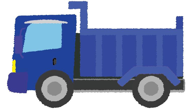 青のダンプカーのイラスト