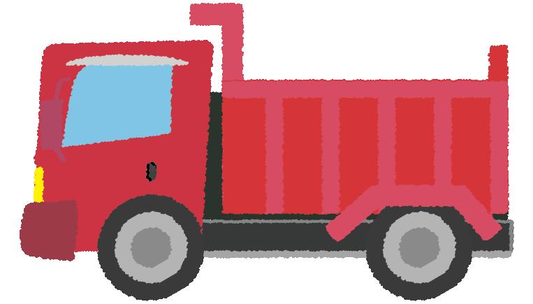 赤のダンプカーのイラスト