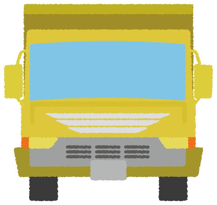 黄色いダンプカーのイラスト(正面)