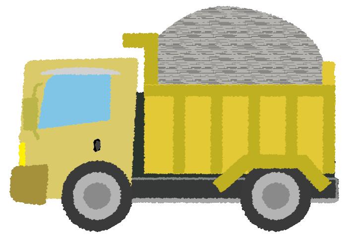 砂利を積んだダンプカーのイラスト
