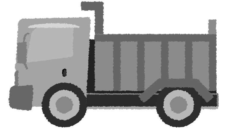 白黒のダンプカーのイラスト