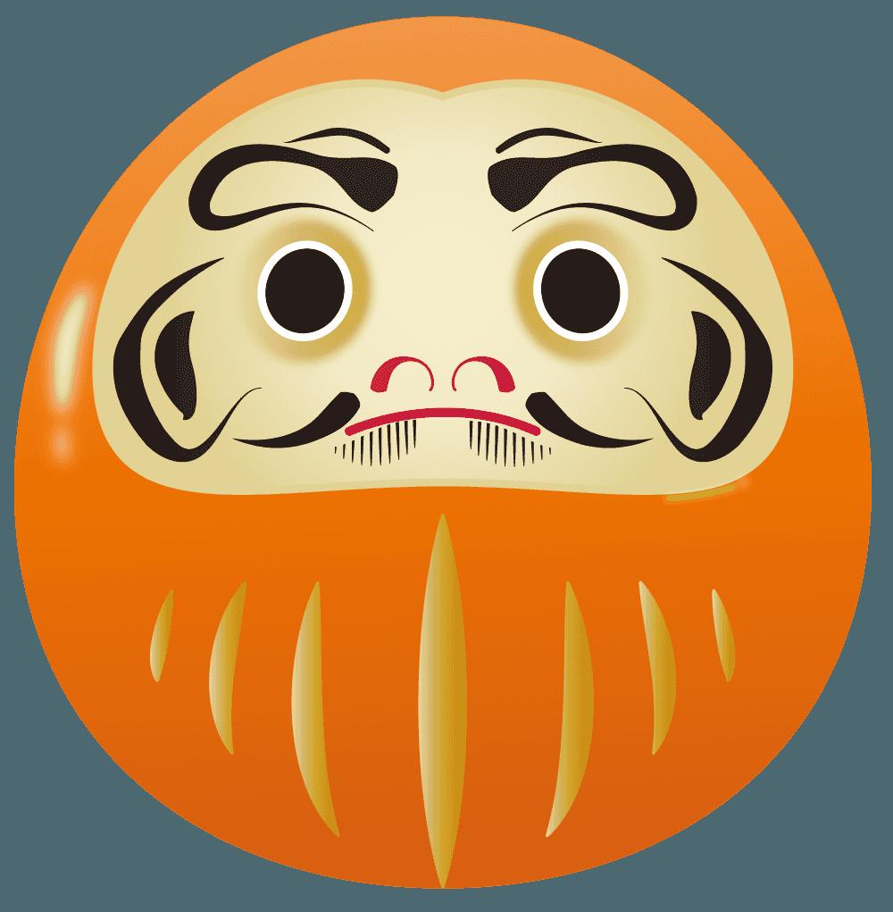 オレンジのだるまイラスト