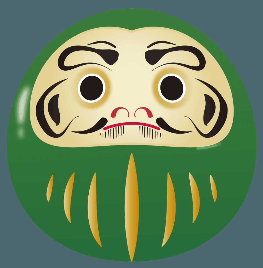 緑のだるまイラスト