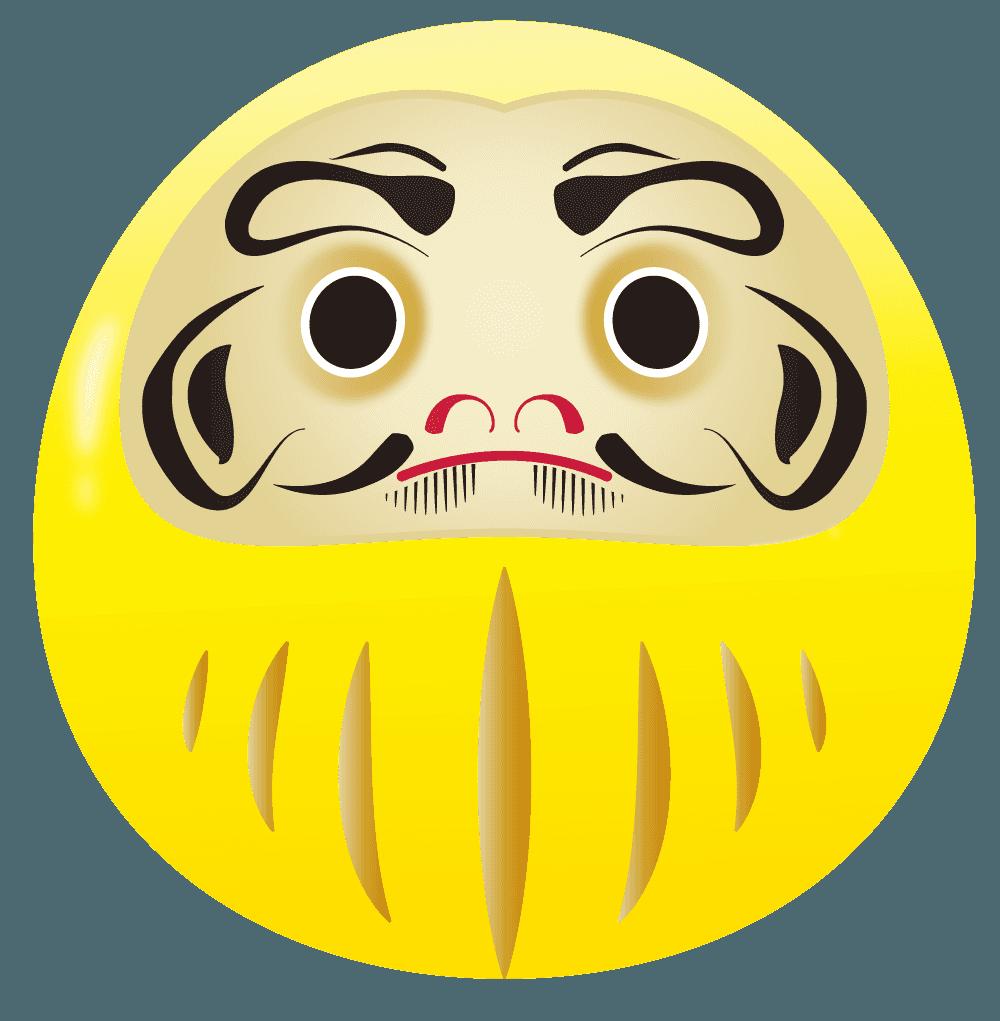 黄色のだるまイラスト