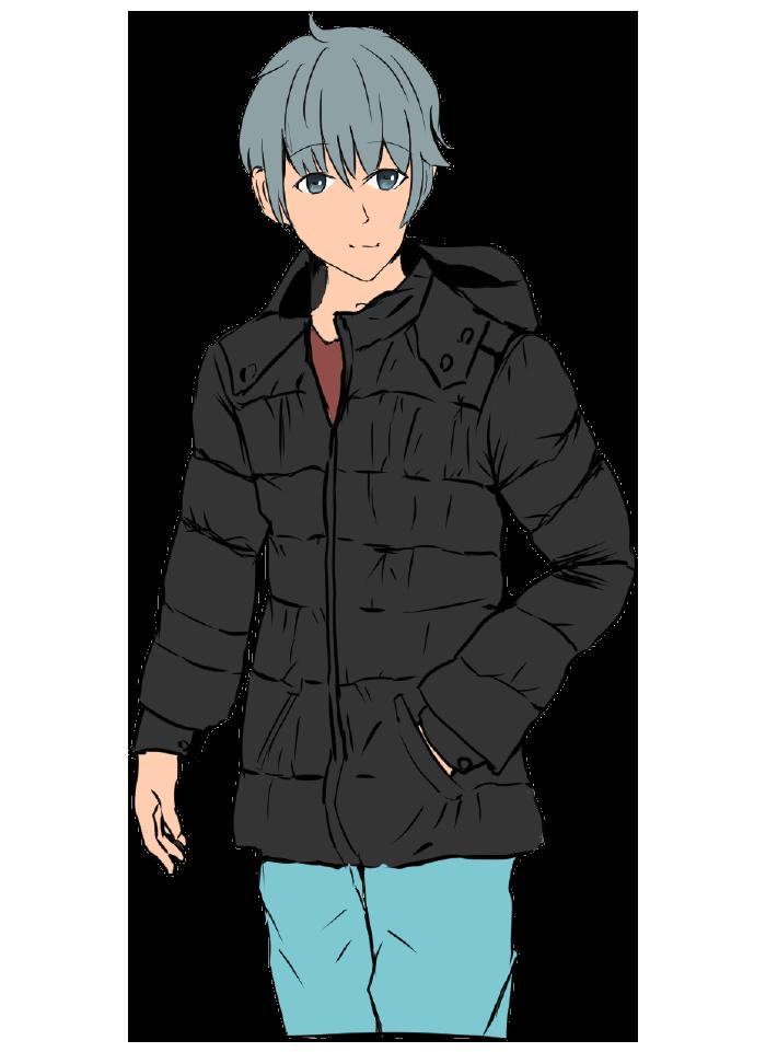 ダウンジャケットを着用した男性のイラスト