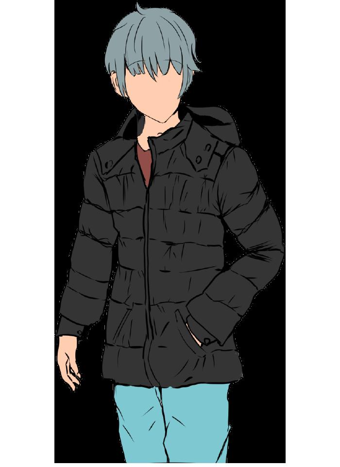 ダウンジャケットを着用した男のイラスト(顔なし)