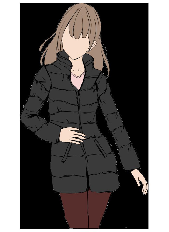 ダウンジャケットを着用した女のイラスト(顔なし)