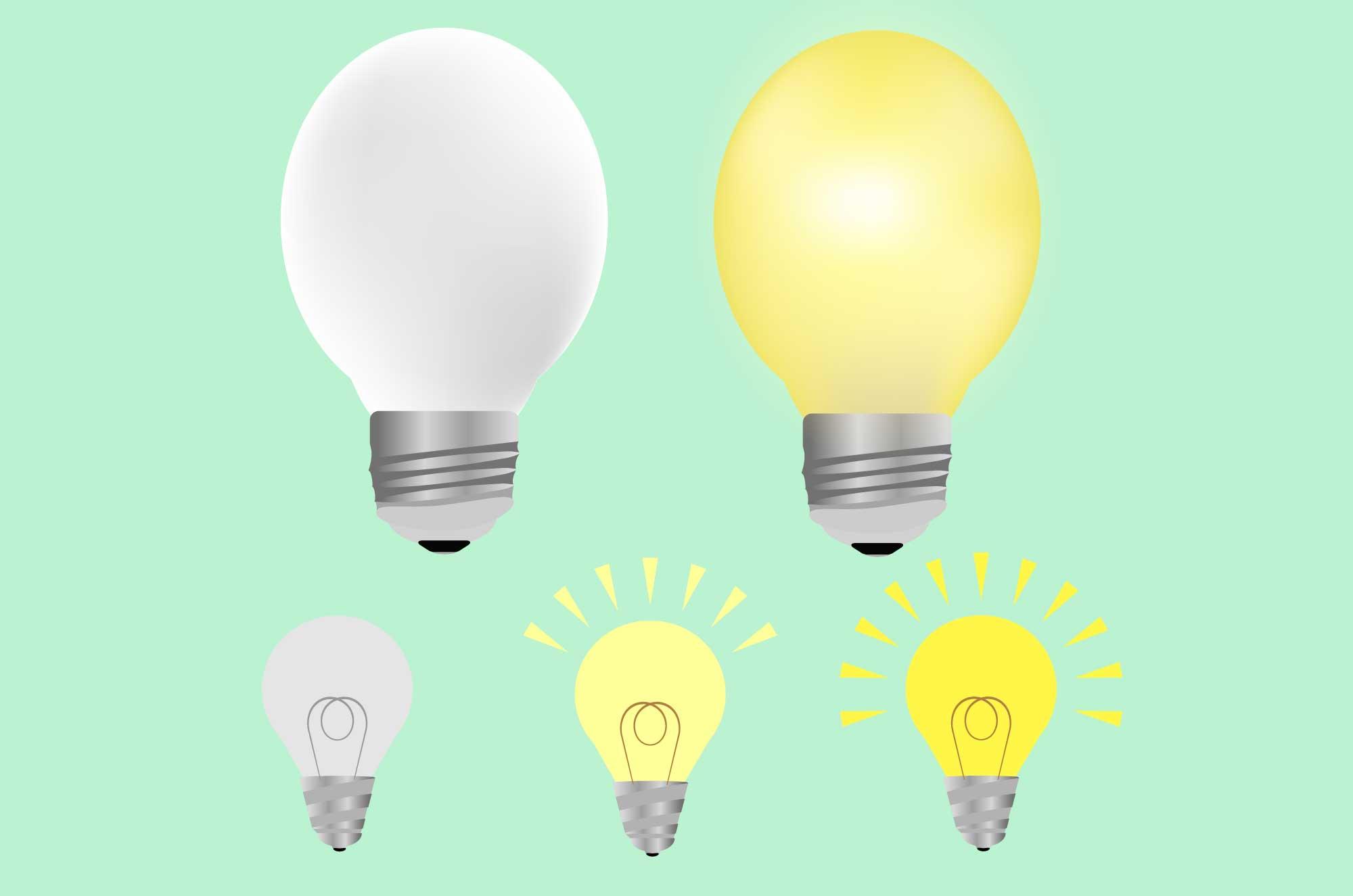 電球のイラスト - パッと閃く明るいアイコン素材