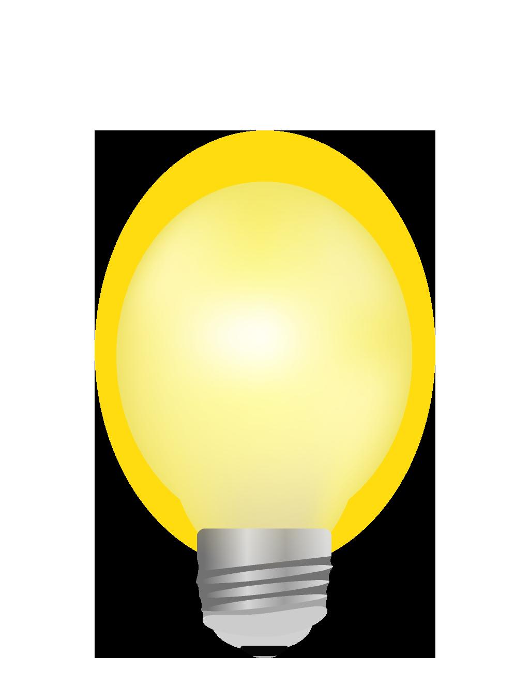明るく光るリアルな電球のイラスト