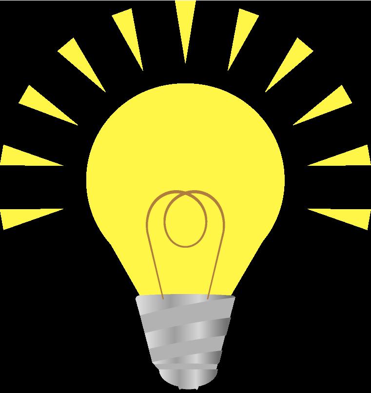 超明るい電球のイラスト