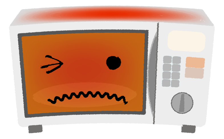 温めすぎた電子レンジのイラスト