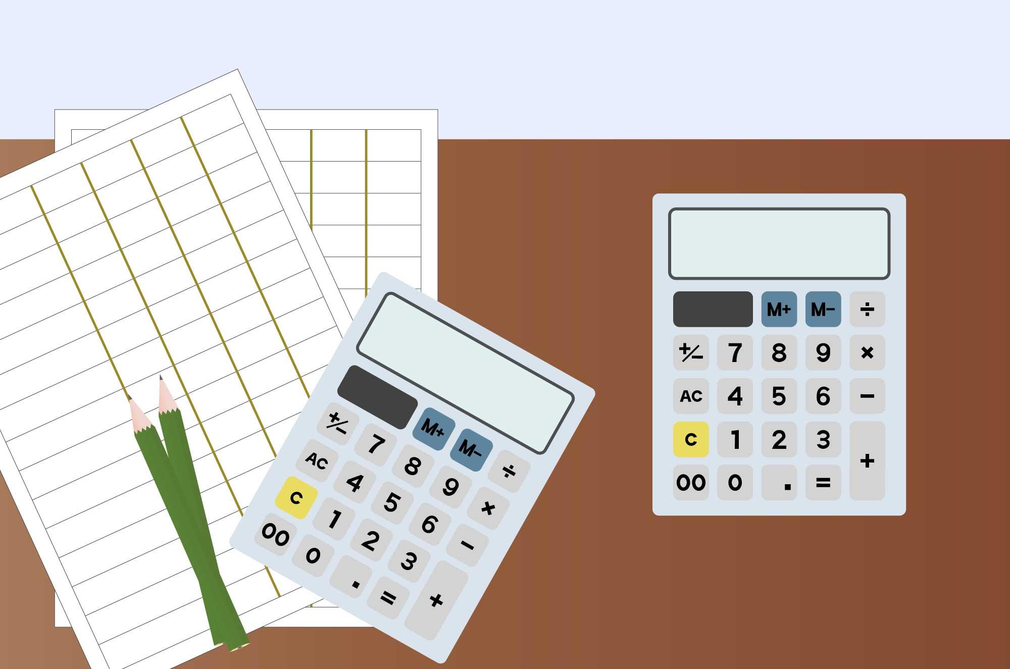 電卓の無料イラスト - 鉛筆と紙の計算イメージ素材