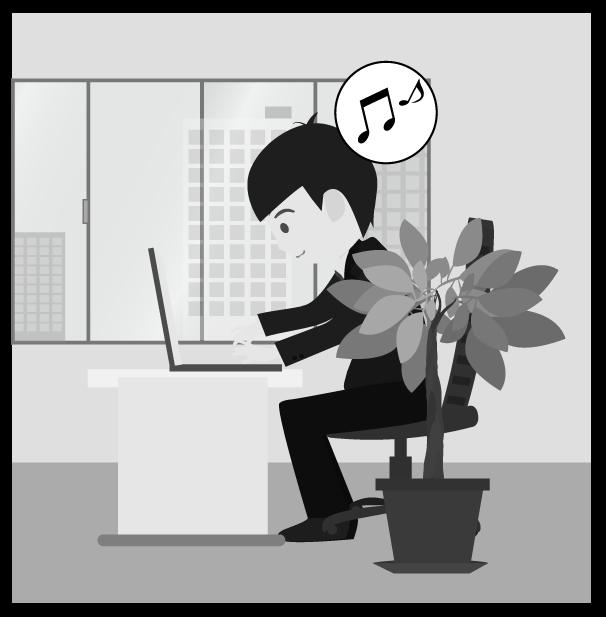 リラックスビジネスマン(白黒)のイラスト