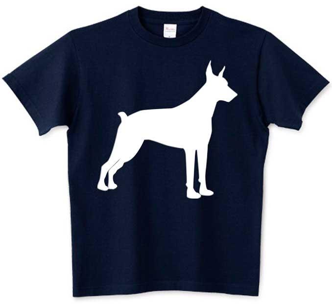 ドーベルマンのシンプル白抜きシルエットTシャツ