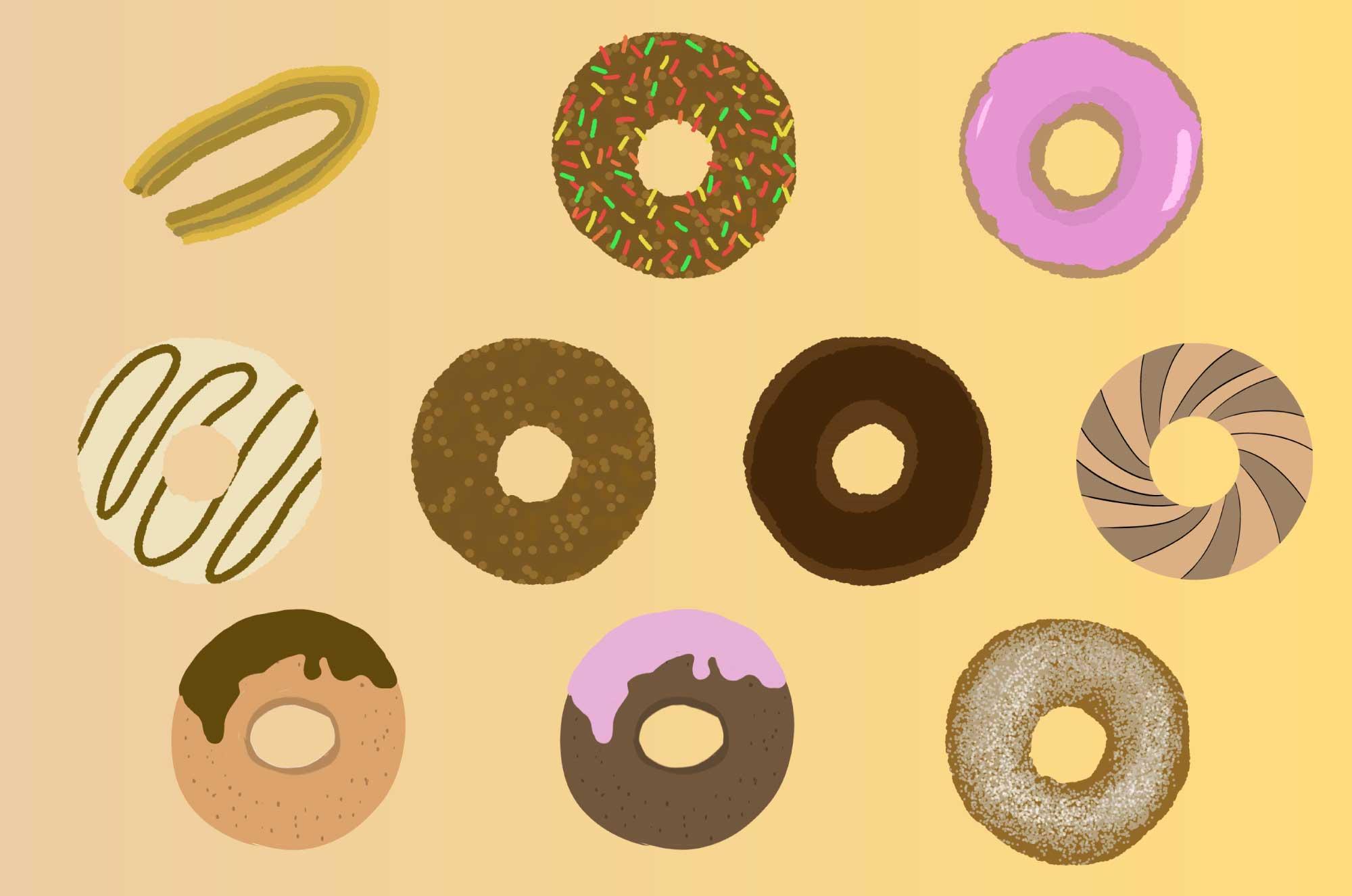 ドーナッツの無料イラスト - 甘いお菓子の食べ物素材
