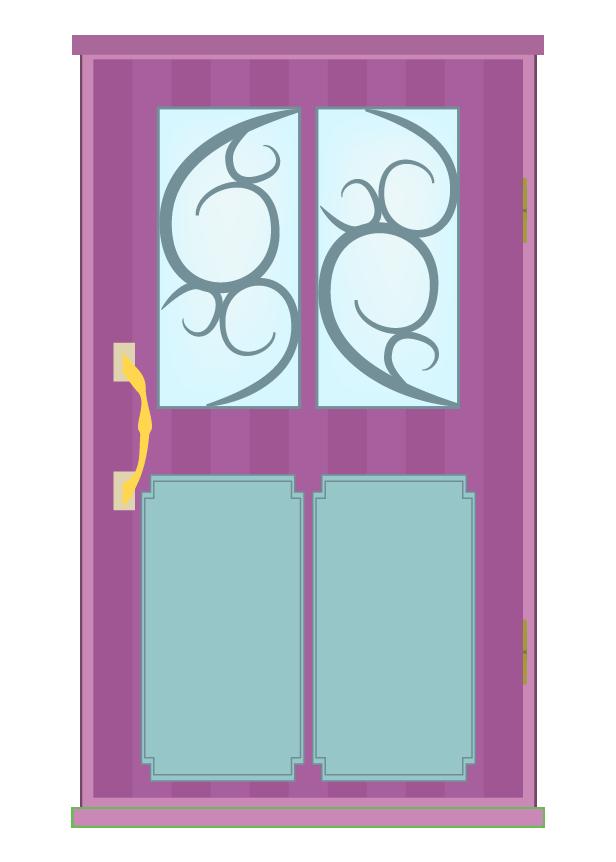 おしゃれな紫のドアのイラスト