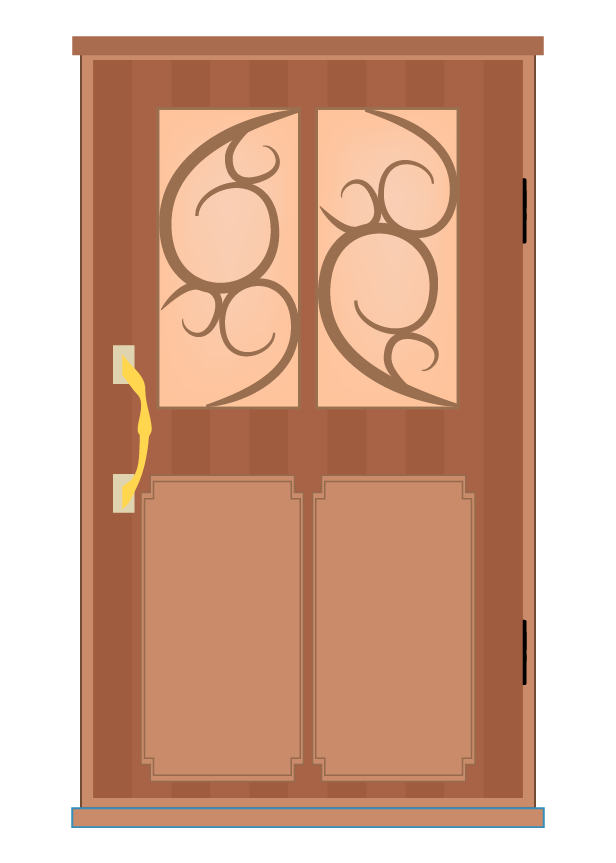 おしゃれな茶のドアのイラスト