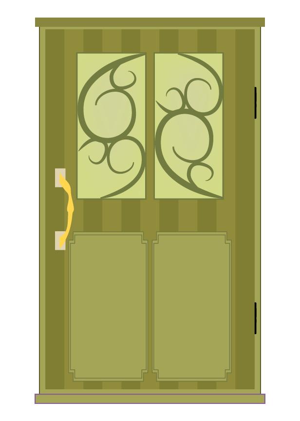 おしゃれな黄のドアのイラスト