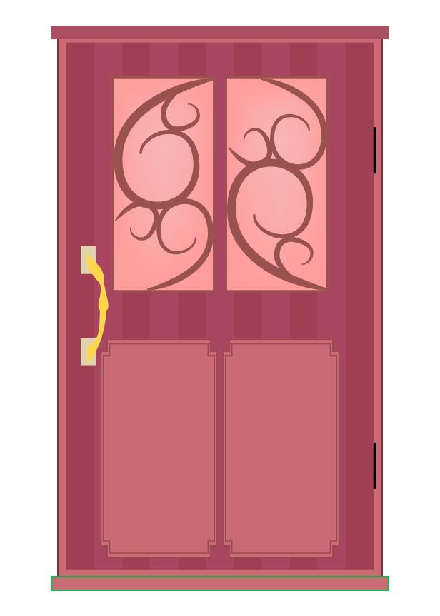 おしゃれな赤のドアのイラスト