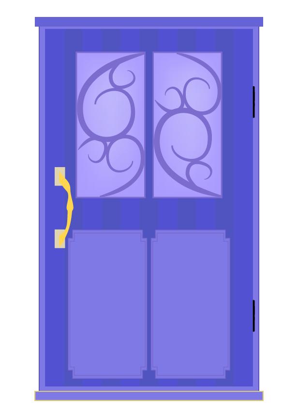 おしゃれな青のドアのイラスト