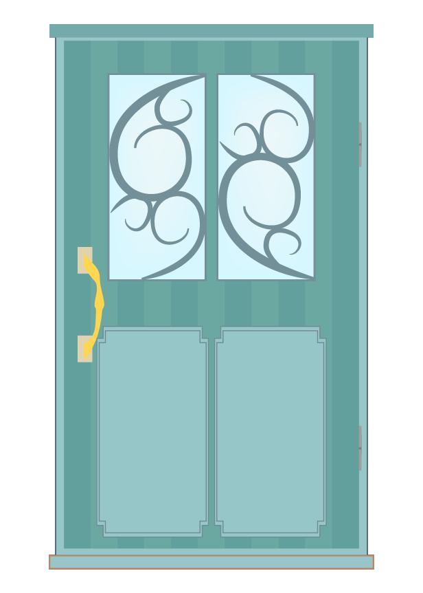 おしゃれな緑のドアのイラスト