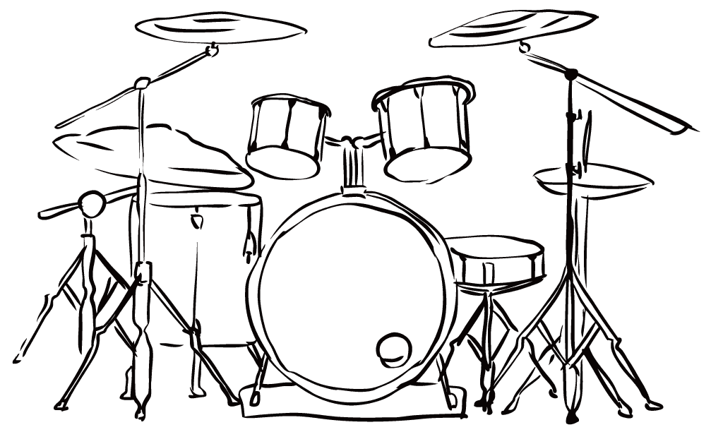線画のドラムセットのイラスト