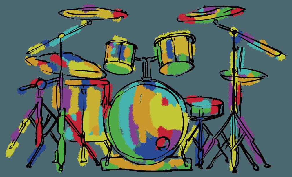 クレヨンで塗ったドラムセットのイラスト