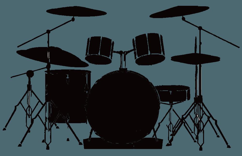 ドラムセットのシルエットのイラスト