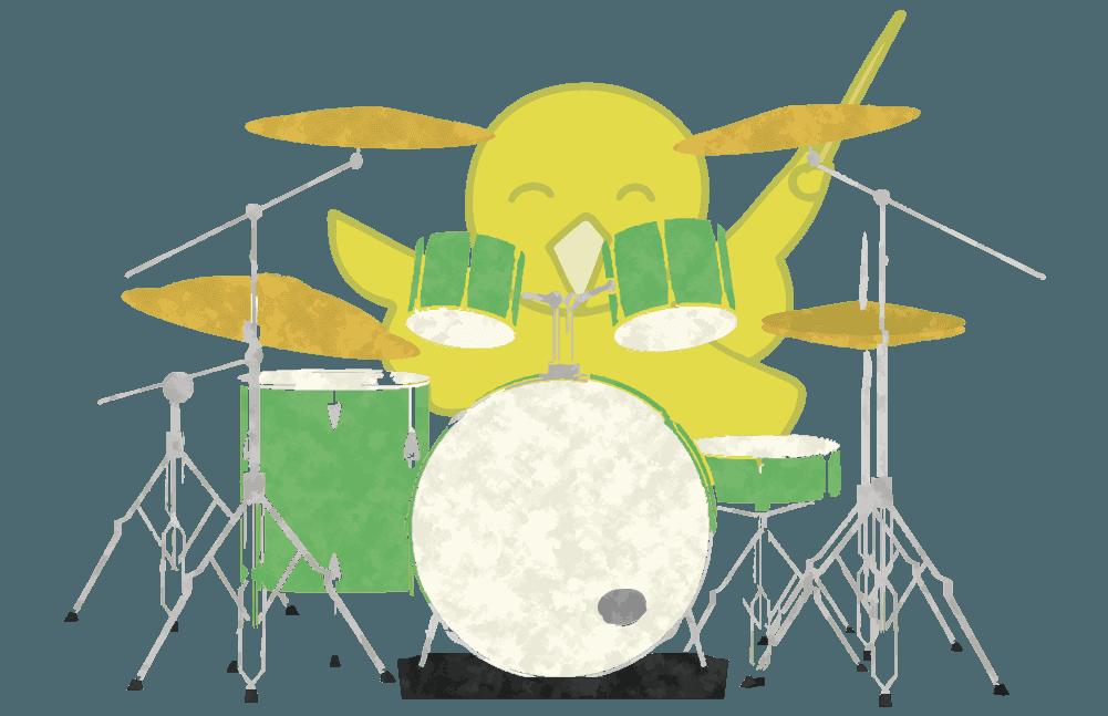 オピーヌちゃんとドラムのイラスト