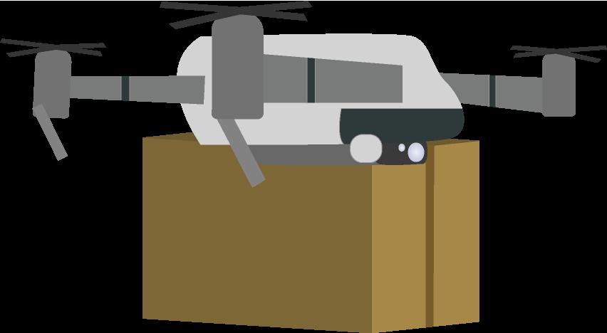 荷物を運ぶドローンのイラスト