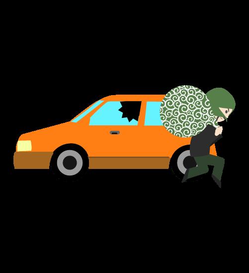 車上荒らし泥棒のイラスト