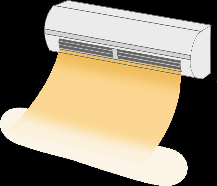 暖房モードのエアコンのイラスト