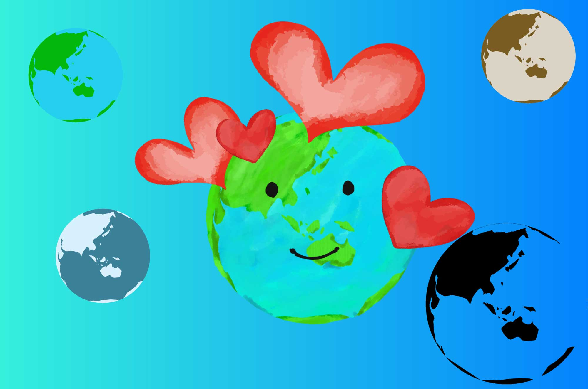 地球のイラスト - 可愛いエコロジーイメージ無料素材